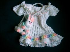 Baby Rainbow Rings Layette Dress free crochet pattern