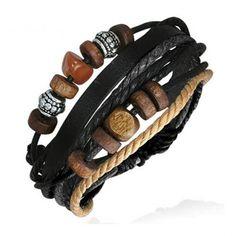 Bracelet homme cuir ajustable contemporain et tendance avec perles bois et couleur acier, noir gris marron et beige, symbole de Karma.