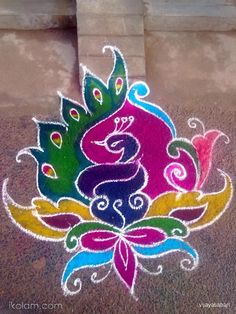Artistically-Colorful 'Peacock-Rangoli' for 'Diwali' – The Indian Festival-of-Lights - Rangoli Colours, Rangoli Patterns, Rangoli Ideas, Indian Rangoli Designs, Rangoli Designs Images, Beautiful Rangoli Designs, Indian Festival Of Lights, Festival Lights, Diwali Craft