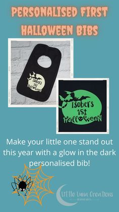 A personalised bib for your little one's first Halloween! A lovely Halloween gift for a baby. It glows in the dark too so it's fab for making your little one stand out on a dark night's trick or treating. A practical way to protect your baby's clothing on Halloween and looks great too! Halloween Make, First Halloween, Dark Night, Cute Gifts, Little Ones, The Darkest, Glow, Make It Yourself, Clothing