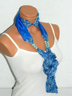 Blue Block infinity Knit and Organza fabric by WomanStyleStore, $31.00