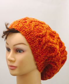 Slouchy orange hat with cables, winter hand knitted headwarmer Handmade Shop, Etsy Handmade, Handmade Gifts, Knitted Baby Cardigan, Knitted Hats, Orange Hats, Warm Winter Hats, Pink Agate, Christmas Gifts For Women