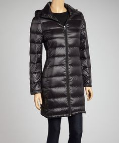 Take a look at this Black Quilted Hooded Coat by Calvin Klein on #zulily today!