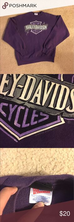 Vintage Harley Davidson Sweatshirt From 1993. Amazing Crewneck sweater. Very rare purple colorway. Fits like a medium Vintage Sweaters Crewneck