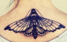 Black Ink Moth Tattoo Design For Upper Back
