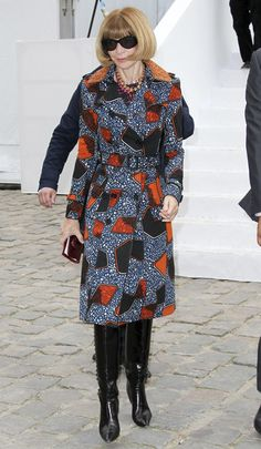 YES!! to that Ankaara Trench coat!! Vogue's Anna Wintour endorses Burberry Prorsum's African print theme
