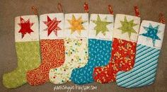 Star cuffed christmas #stockings #quilt #tutorial by @Amy Ellis from Amy's Creative Side