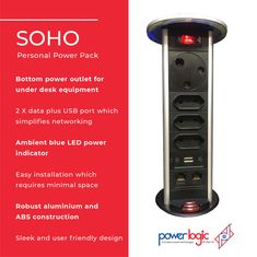 Features:  🔌Bottom power outlet for under desk equipment 🔌2 X SA 3 pin power outlets 🔌3 X SA 2 pin power outlets 🔌2 X data plus USB port which simplifies networking 🔌Ambient blue LED power indicator 🔌Easy installation which requires minimal space 🔌Splash proof in the stowed position 🔌Robust aluminium and ABS construction 🔌Built in overload trip switch rated at 15A 🔌All power outlets are shuttered for safety 🔌Sleek and user friendly design