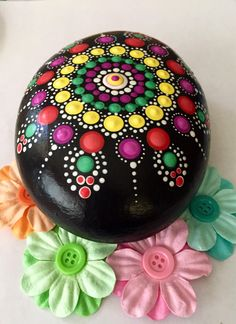 Large bright handpainted Mandala Stone by AMadArtiste on Etsy