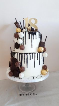 Unique Birthday Cakes, 18th Birthday Cake, Chocolates, Chocolat Cake, Two Layer Cakes, Cream Frosting, Cakes For Boys, Drip Cakes, Chocolate Lovers