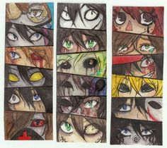 Creepypasta characters, eyes, Jeff the Killer, Ben Drowned, Eyeless Jack, Laughing Jack, Ticci Toby, Masky, Hoodie; Creepypasta  Please tell me the names of the missing characters if you know