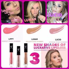 Younique Lucrative Lip Gloss featuring our 3 new shades in this pic! Not a lipstick kind of girl? That's okay! We have 13 shades of long-lasting, non-sticky, go-to gloss with a handy, convenient mirror on the side of the tube! Youniqueproducts.com/mollyfortner