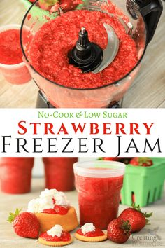 Try the Best Ever, simple Homemade Low Sugar, No-Cook Strawberry Freezer Jam Recipe with Lemon Juice! Insanely easy in approximately 30 minutes, and you can enjoy the fresh fruit taste of strawberries all year long! Lasts approxi Freezer Jam Recipes, Jelly Recipes, Lemon Recipes, Canning Recipes, Sugar Free Strawberry Jam, Homemade Strawberry Jam, Strawberry Recipes, Low Sugar Strawberry Freezer Jam Recipe, Strawberry Fruit Spread Recipe