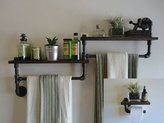 The Deuce Package    A one of a kind design by Mobee Industrial Designs. An Industrial Black Pipe Shelf Towel Rack and an Industrial Black Pipe