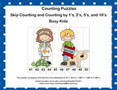 Looking for some activities to keep the kiddos counting?Try my busy kids themed Skip Counting and Counting by 1s Puzzles. There are 24 Counting Puzzles with numbers ranging from 1-120. Counting is done by 1s, 10s, 5s, and 2s. Different levels are included to allow for differentiation in your classroom.