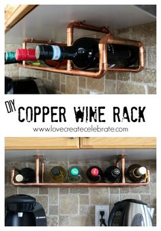 Check out this clever DIY wine rack made from copper pipe. See it on Love Create Celebrate. || @lindivs