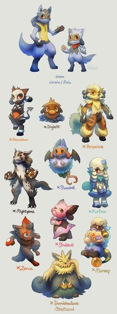 Lucario and Riolu Breed Variation by Haychel