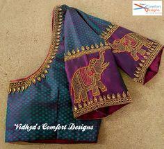 Pattu Saree Blouse Designs, Blouse Designs Silk, Designer Blouse Patterns, Bridal Blouse Designs, Simple Blouse Designs, Stylish Blouse Design, Magam Work Designs, Henna Designs, Chennai