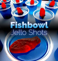 FISHBOWL JELLO SHOTS - Blue Curacao, Vodka, Swedish Fish, Berry Blue Jello - Tasty and colorful, these are sure to delight any adult!