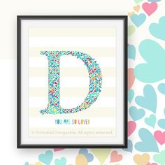Nursery letter decor Monogram letter D art by PrintableChangeable