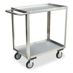 Utility Cart, SS, 42 x 25 In, 1200 lb. Cap. by Jamco. $663.13. Service Cart, Stainless Steel, Load Capacity 1200 lb., Welded Construction, Gauge Thickness 16, Polished Finish, Color Silver, Overall Length 42 In., Overall Width 24 In., Overall Height 35 In., Number of Shelves 2, Caster Size 5 In., Caster Type 2 Rigid, 2 Swivel, Caster Material Urethane Wheel/Stainless Rig, Capacity per Shelf 600 lb., Distance Between Shelves 25 In., Shelf Length 36 In., Shelf W...