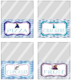 Disney Frozen Birthday Party Food Tent Card Labels Custom Printables on Etsy, $5.00