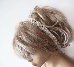 Bridal Pearl Headband Lace İvory Pearl Head Piece   by ADbrdal, $37.00