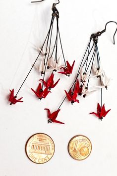 Tiny little cranes into earrings.