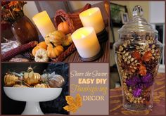 Easy DIY Thanksgiving Decor -- gorgeous tablescapes and decor ideas that ANYONE can do at home!  #DIY #Thanksgiving #Decor #ShareTheSeason #sponsored