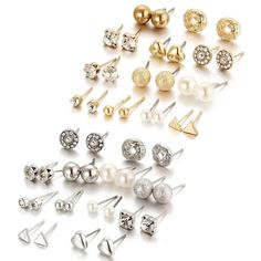 Shining Diva Fashion Latest 24-36 Pairs Earrings Combo Set Crystal Pearl Stud Earrings for Women and Girls Surgical Steel Stud Earrings, Pearl Stud Earrings, Pearl Studs, Crystal Earrings, Diva Fashion, Gold Fashion, Woman Fashion, Girls Earrings, Women's Earrings