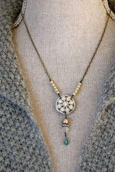 Adrienne. romantic,vintage rhinestone,pearl necklace. tiedupmemories