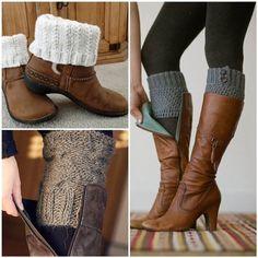 Polainas de joelho feitas de crochê