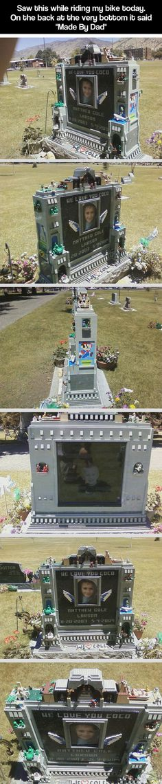 Made by Dad…Lego headstone for a boy who died when he was only 5 years old... This is heart-wrenching.