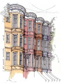 Avenue Townhouses by James Anzalone Building Drawing, Building Sketch, Building Art, Watercolor Architecture, Architecture Drawings, Watercolor Sketch, Watercolor Illustration, Sketches Arquitectura, Art Sketches