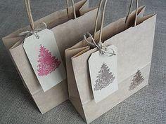 Christmas Tree Gift Bag And Tag - wrapping