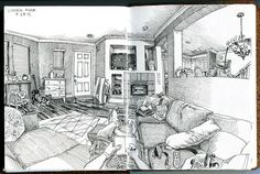 https://flic.kr/p/wzPE7Y | living room | Staedtler Pigment Liners on Stillman & Birn Alpha paper