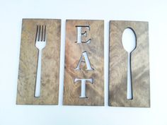 Kitchen Art Fork Spoon And Eat Wooden Plaques Wall Decor Carved Modern Art