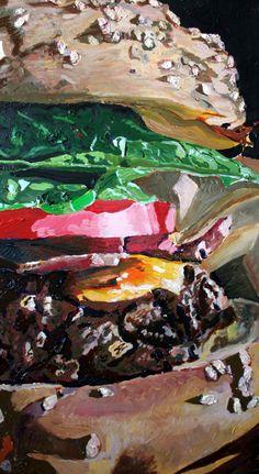 "Hamburger Art Print - Food Painting 8"" x 15"""