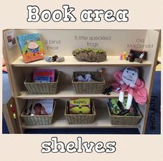 Puppets for nursery rhymes on the top shelf. Props for There Book area shelves. Classroom Layout, Toddler Classroom, Montessori Classroom, Classroom Organisation, Preschool Literacy, Preschool Books, New Classroom, Classroom Displays, In Kindergarten