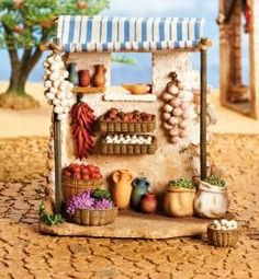 5 Inch Scale Produce Shop by Fontanini Estimated Avail Aug. Fontanini Nativity, Diy Nativity, Christmas Nativity Scene, Christmas Villages, Miniature Crafts, Miniature Dolls, Felt Crafts Patterns, Mexican Home Decor, Ceramic Houses