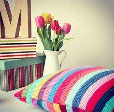 Stripped #Crochet Cushion