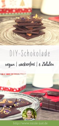 Mit diesem Rezept kannst Du vegane, zuckerfreie Schokolade selber machen. Ganz einfach und mit zusätzlichen Tipps für Weihnachtsschokolade.