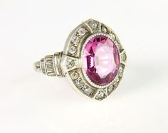 Art Deco sterling silver Ring Pink crystal PSCo Plainville Stock Company 1920s jewelry