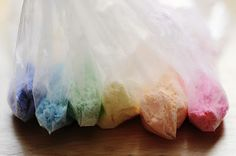 color powdered sugar with gel colors for decorating baked goods.