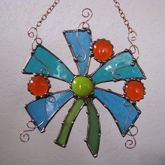 Stained glass and copper Hanging flower sun catcher by Groovyglass, $38.00