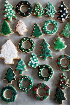 tree + wreath sugar cookies