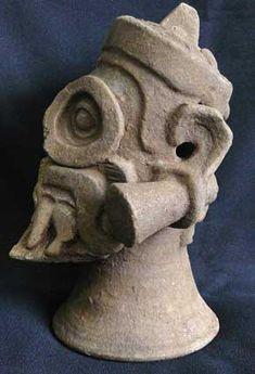 Tláloc, dios de la lluvia, encontrada en la base de la Acrópolis en el Sitio Arqueológico Cihuatan, El Salvador.