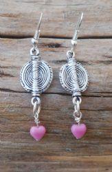 Handmade Silver & Pink Drop Earrings - HM09-1 We Love Heart, Heart Jewelry, Handmade Silver, Originals, Hearts, Drop Earrings, Jewellery, Pink, Jewels