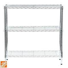 Honey-Can-Do 3-Shelf 14 in. D x 36 in. W x 36 in. H Chrome Shelving Unit-SHF-01606 - The Home Depot