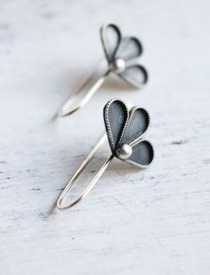 Belinda Saville - Earrings, sterling silver, floral, petal, flower, woodland, summer, minimal jewelry - The Peony Earrings